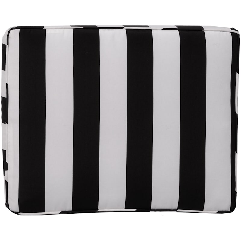 Black Awning Stripe Outdoor Gusseted Short Back Cushion