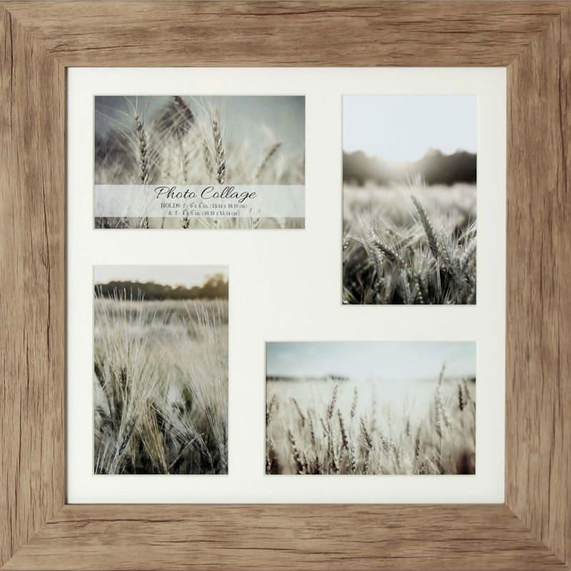 12X12 Driftwood Farmhouse Matted Frame Holds (X4) 4X6 Photos