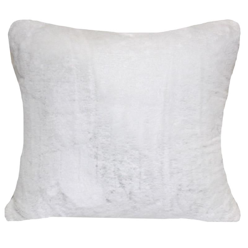 """Bristol White Faux Fur Throw Pillow,18"""""""