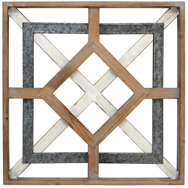 20X20 Metal Wood Square Medallion Wall Art