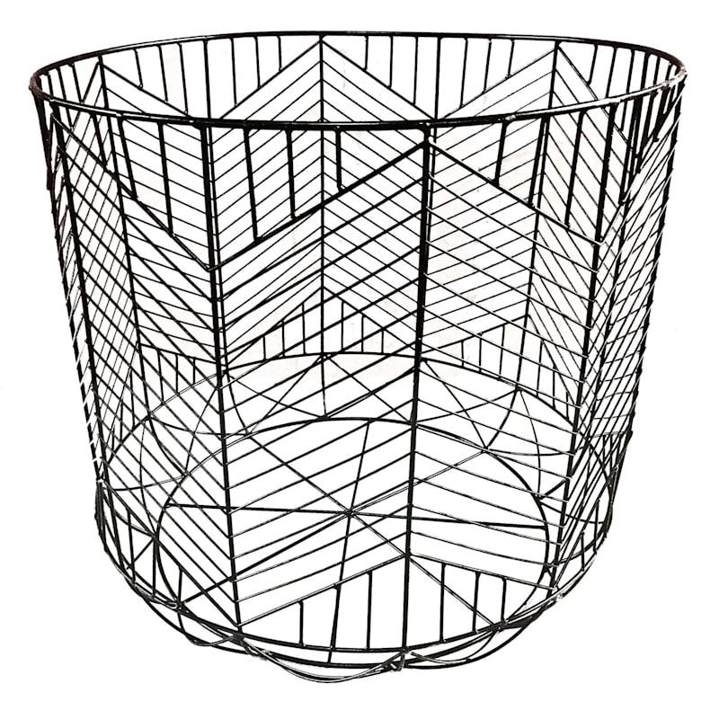 Round Matte Black Geo Grid Basket L