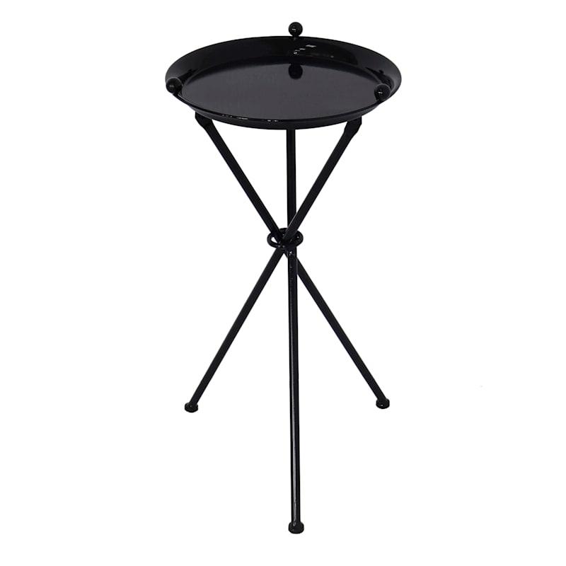 "Black Metal Table, 24"""