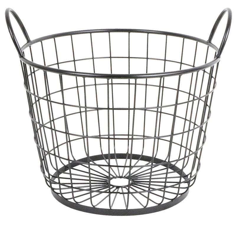 Metal Round Wire Grid Basket Handle, Large Round Wire Basket