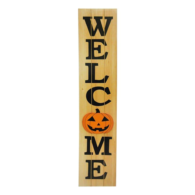 Welcome Pumpkin Wooden Porch Leaner Sign, 4'