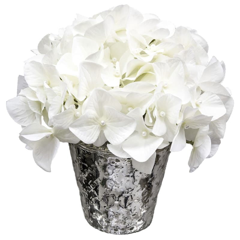 Faux Hydrangea With Pearl In Silver Round Pot