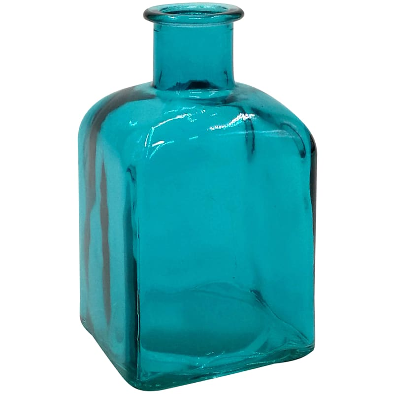 Blue Square Glass Bud Vase 3.5X6