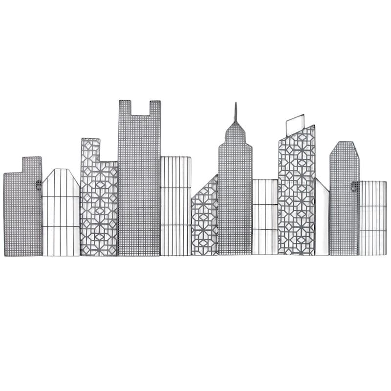40X16 Metal Black Buildings Wall Art