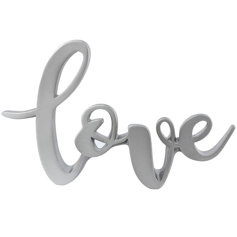 9in. Resin Silver Love Sign