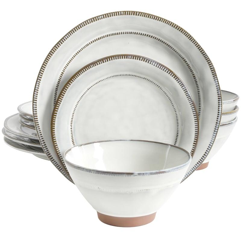 Terranea 12-Piece Dinnerware Set White Reactive Terracotta