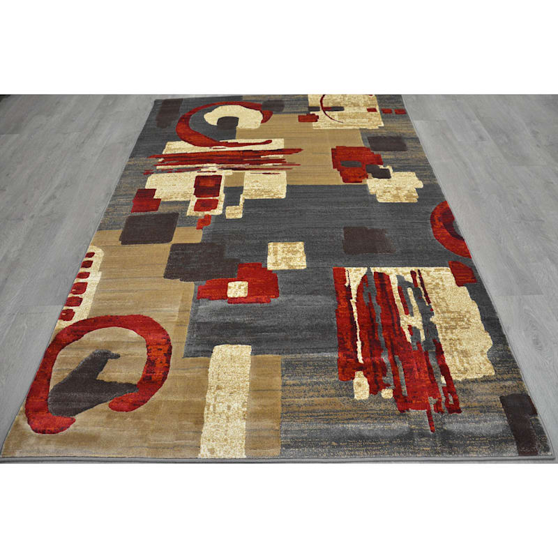 (B142) Beige & Red Modern Abstract Design, 3x5