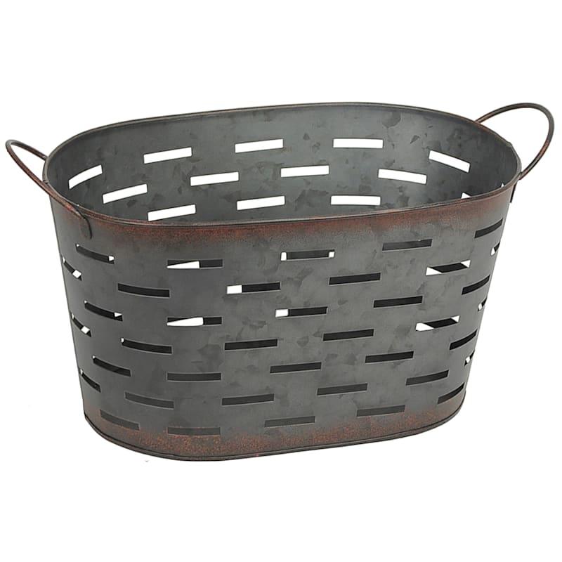 Oval Dark Galvanized Pierced Metal Basket S