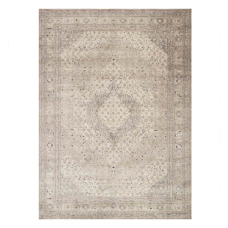 (B500) Xander Distress Look Ivory & Tan Area Rug, 8x10