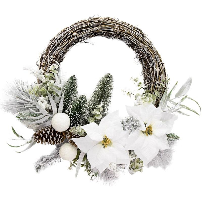 White Poinsettia & Berries Half Wreath