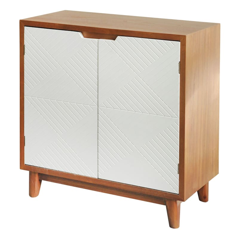 Brown/White Two-Tone 2-Door Wooden Cabinet