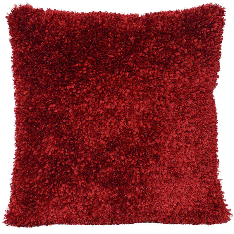 Moove Red Shag Pillow 18X18