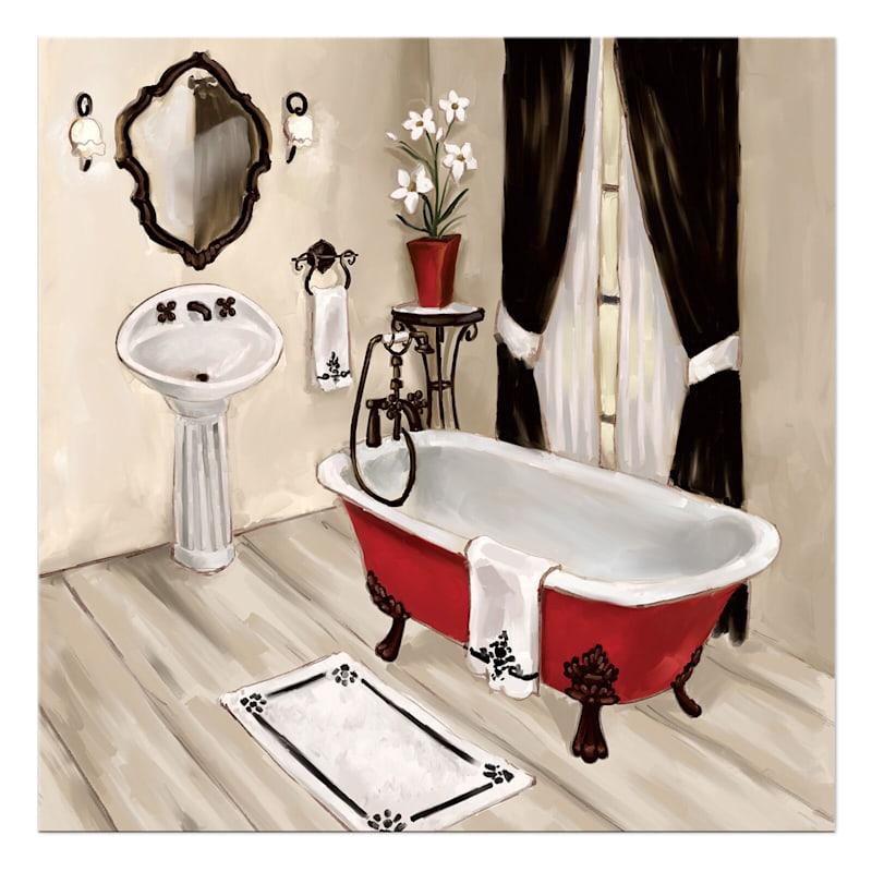 12X12 Red Tub Bathroom Canvas Wall Art