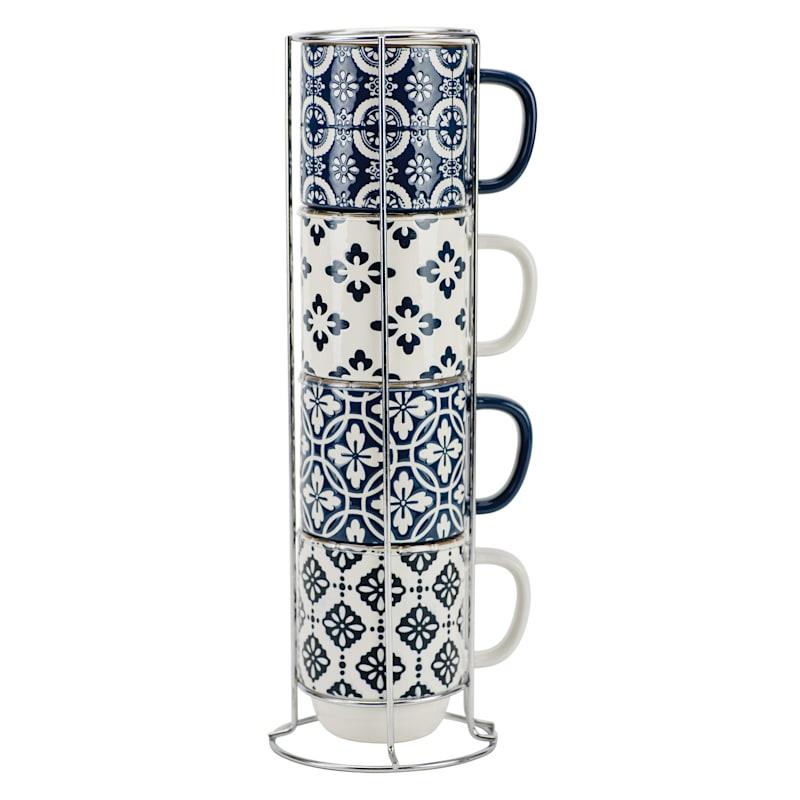 14oz Stacked Set Of Four Mugs Metal Rack True Blue/White Pattern