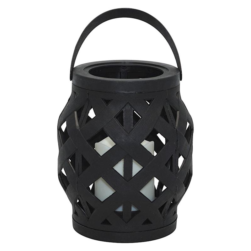 6X6 Plastic Rattan Lantern W/Led Candle 6H Timer Function Weatherproof Black