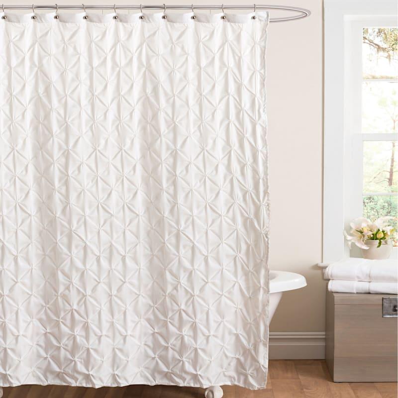 Lake Como White Pintuck Shower Curtain 72X72