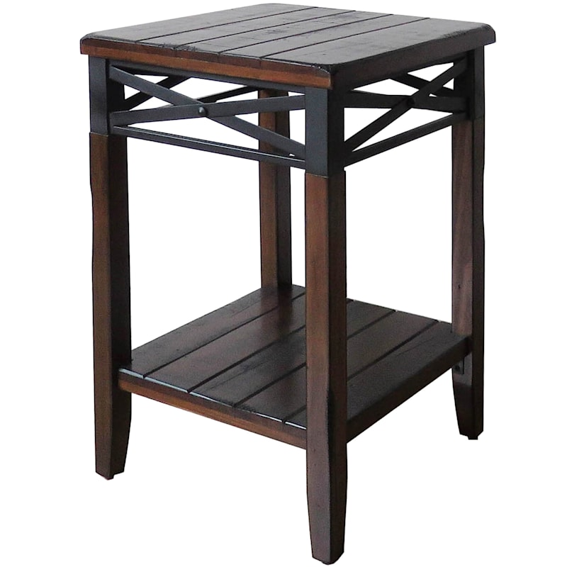 Wood/Metal X Band Plant Stand