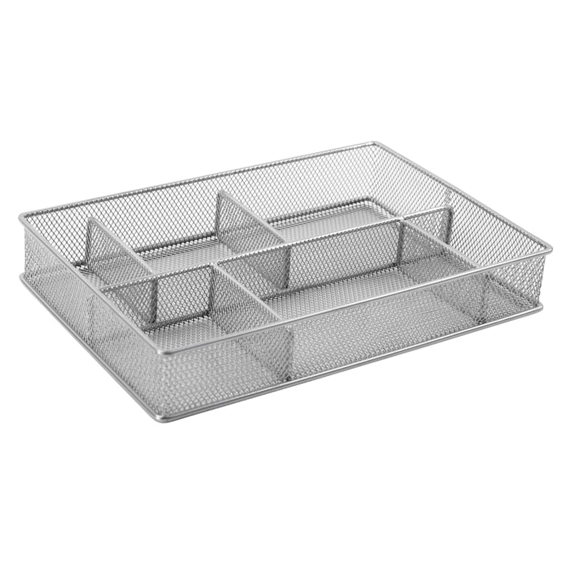 Metal 6 Compartment Drawer Organizer Silver