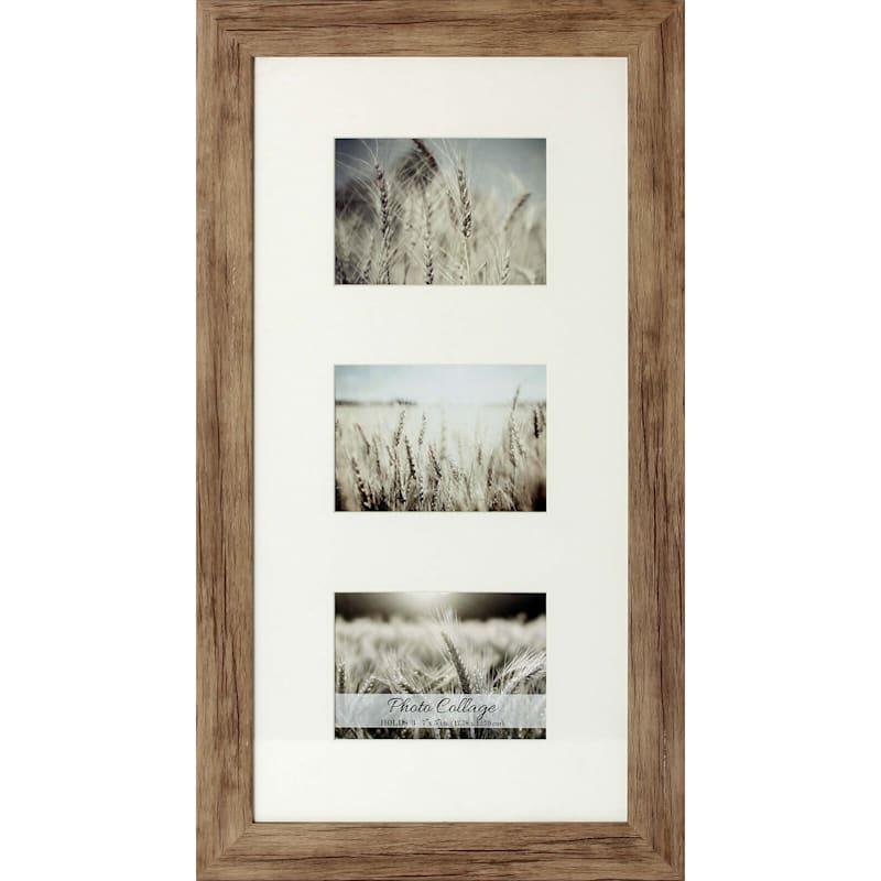12X24 Driftwood Farmhouse Matted Frame Holds (X3) 5X7 Photos
