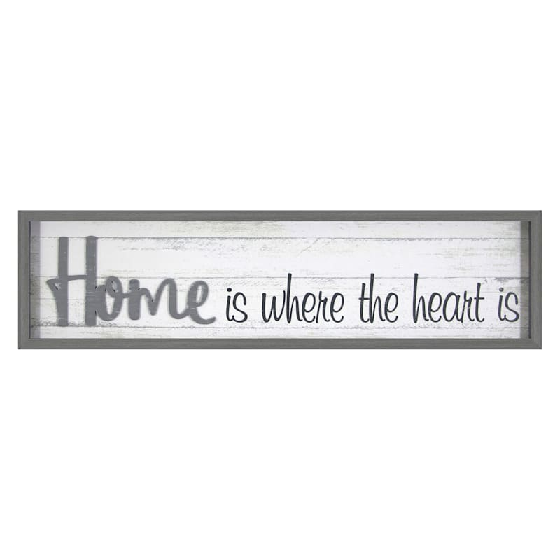 8X30 Home Is Where The Heart Is Inverted Wood Box Lifted Word
