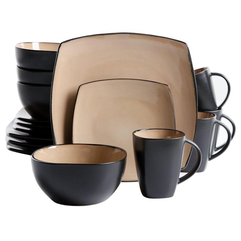 Soho Lounge 16-Piece Dinnerware Set Taupe Reactive Square Stoneware