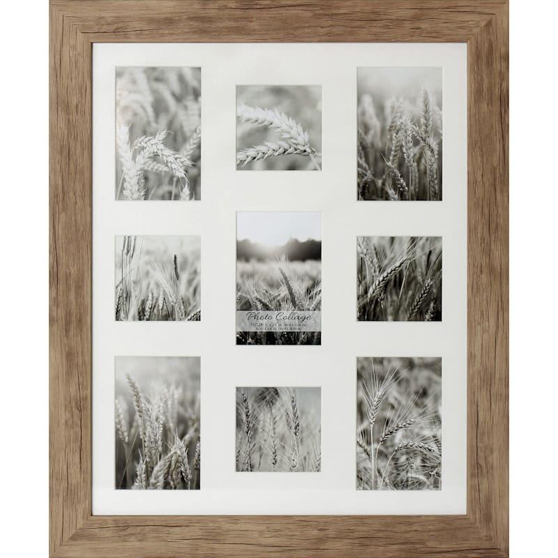 16X20 Driftwood Farmhouse Frame Holds (X5) 4X6 And (X4) 4X4 Photos