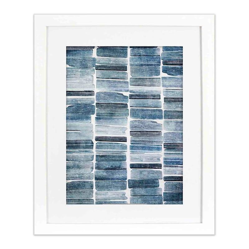 16X20 Indigo Stripes Framed Matted Art Under Glass