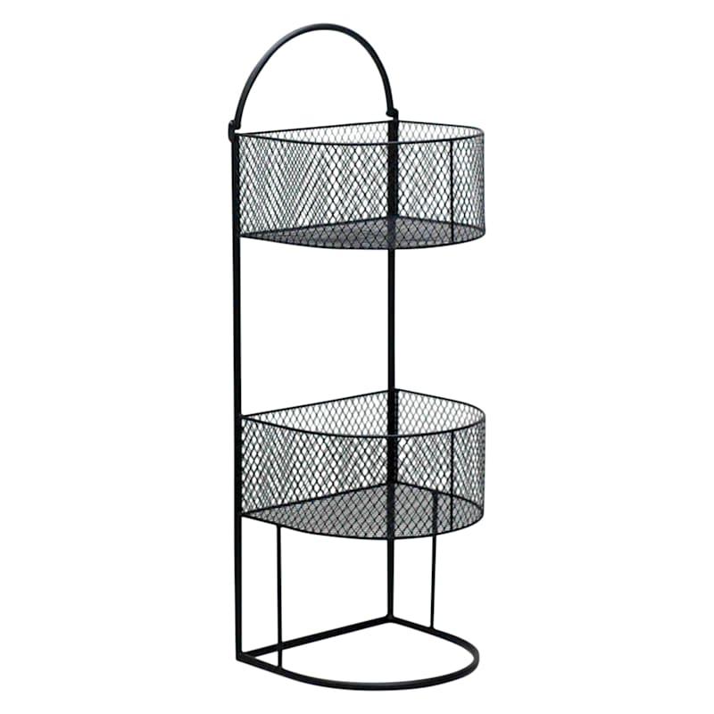 Black 3 Tier Round Storage Basket, Small