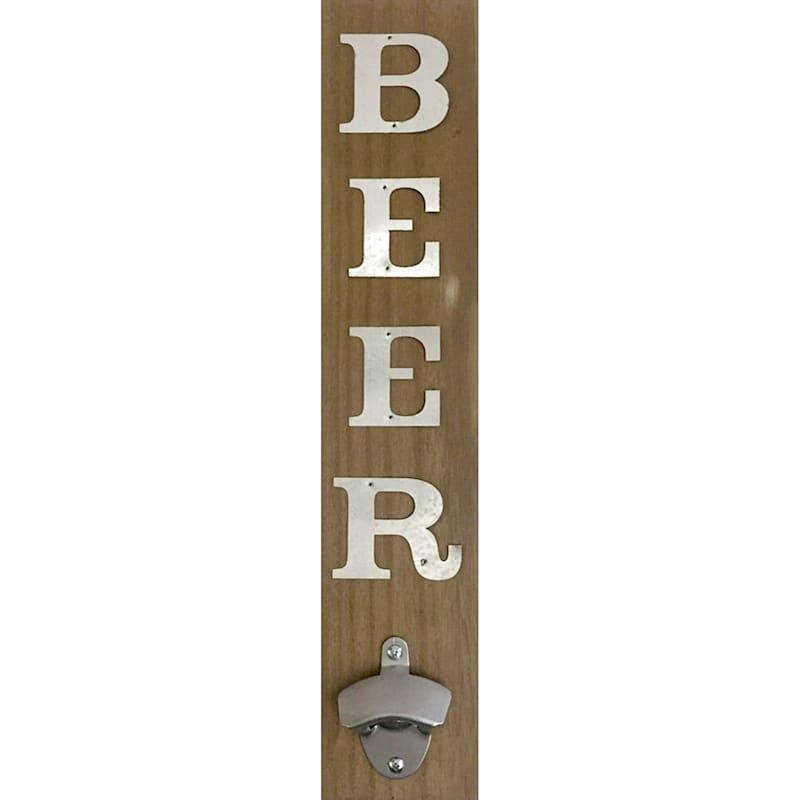 4X19 Wood Bottle Opener With Metal Beer