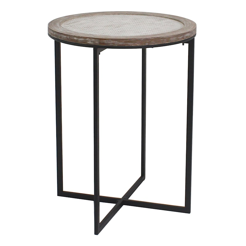 Round Wood And Metal Accent Table With X Bottom