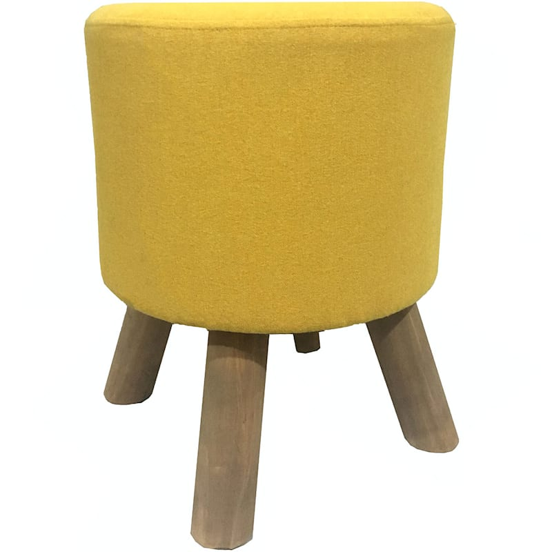 Arcadia Yellow with Natural Wood Leg Stool