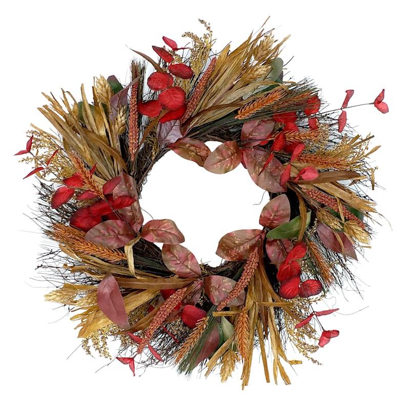"Eucalyptus & Berry Foxtail Wreath, 22"""