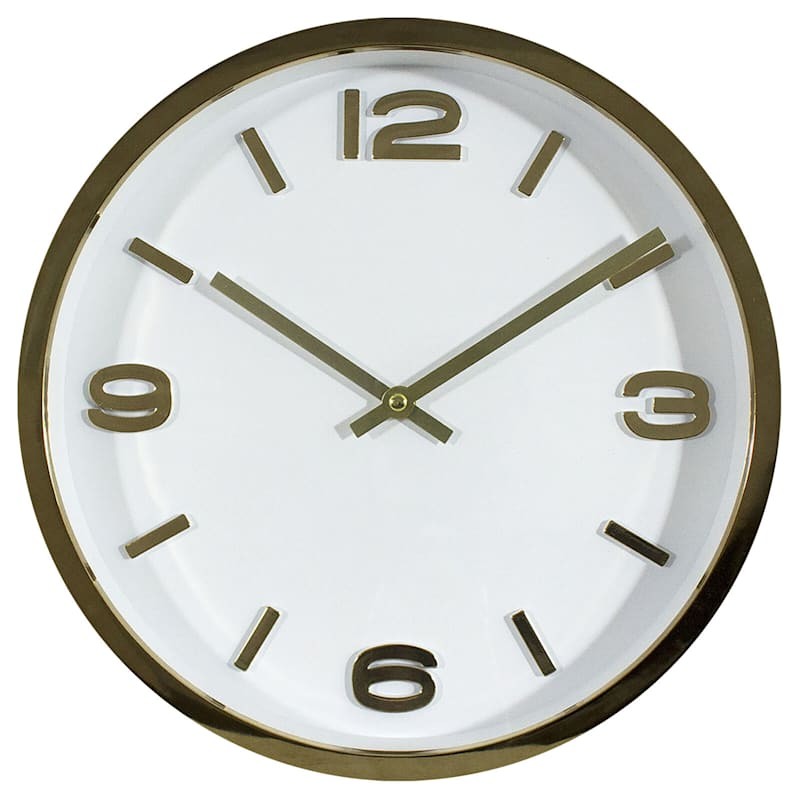 Gold/White Accent Clock- 12-in