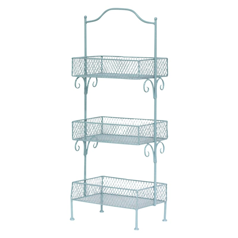 Blue 3 Tier Storage Basket, Small