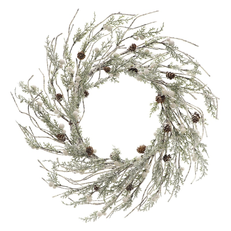 "Iced Pinecones & Berries Wreath, 21"""