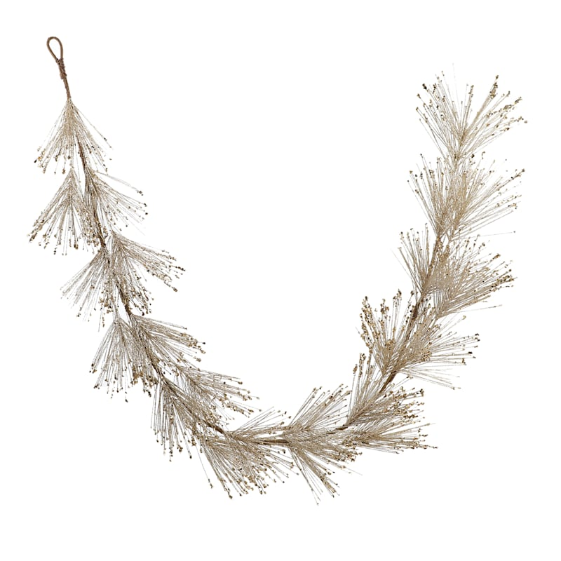Gold Glittered Pine Garland, 6'