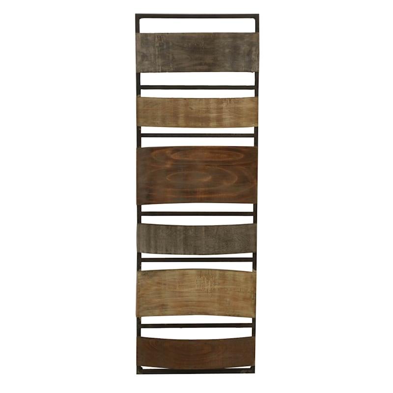 12X36 Metal Wood Brown Plank Panel Wall Decor