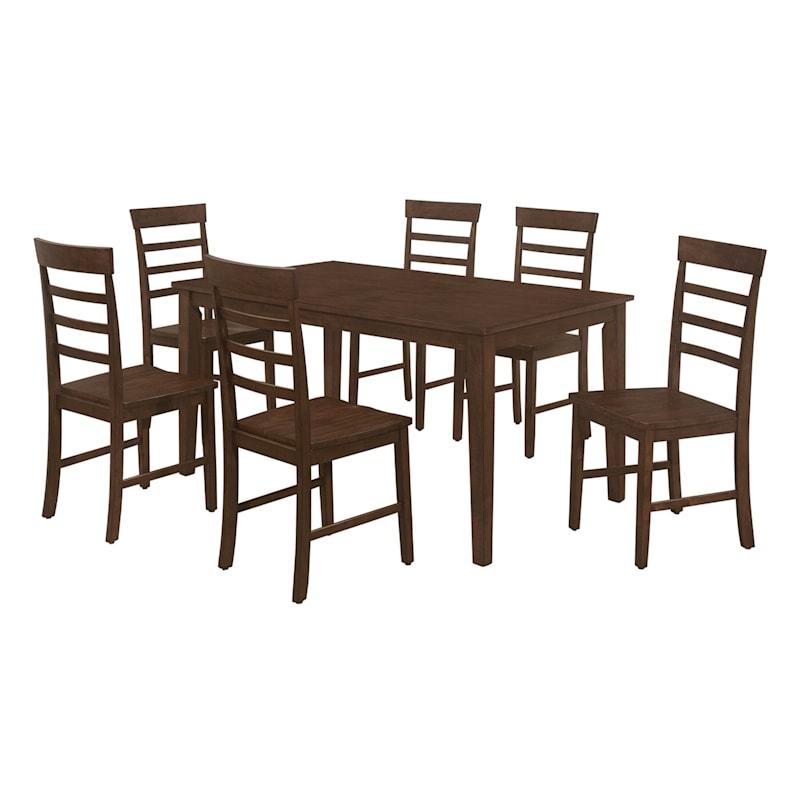 Peyton 7-Piece Brown Dining Set