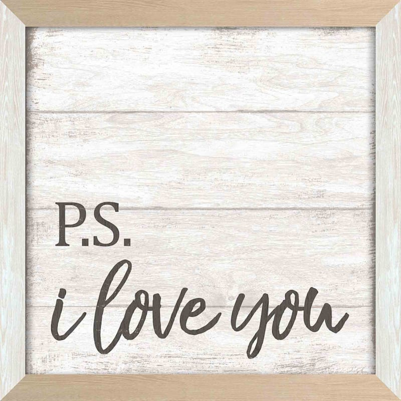 14X14 Ps I Love You Textured Art With Two Tone Frame