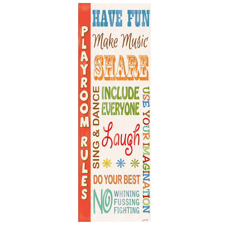 12X36 Kids Play Room Rules Canvas