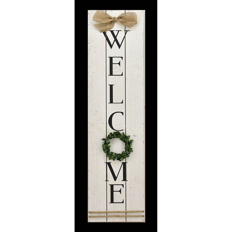 8X32 Welcome Print On Wood Plaque With 3D Accents