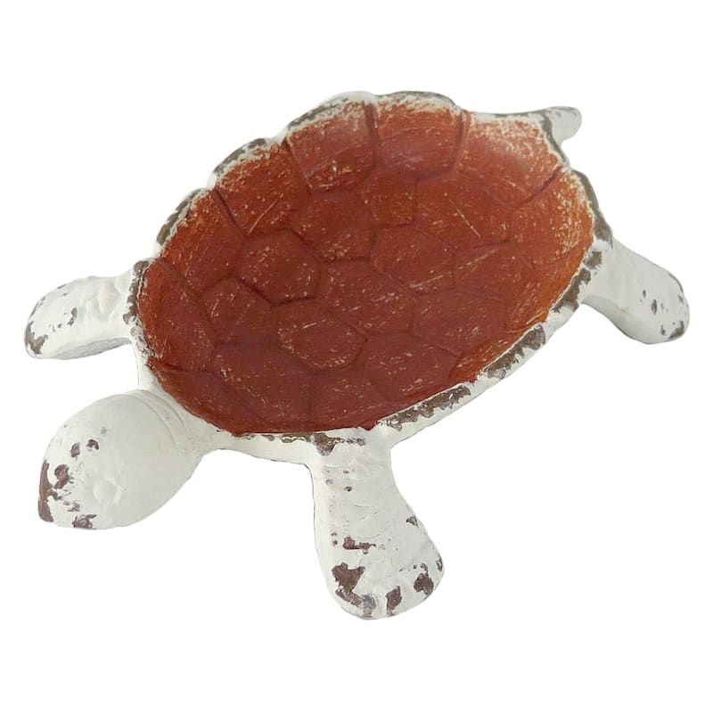 Distressed Metal White Turtle With Red Shell Trinket Tray