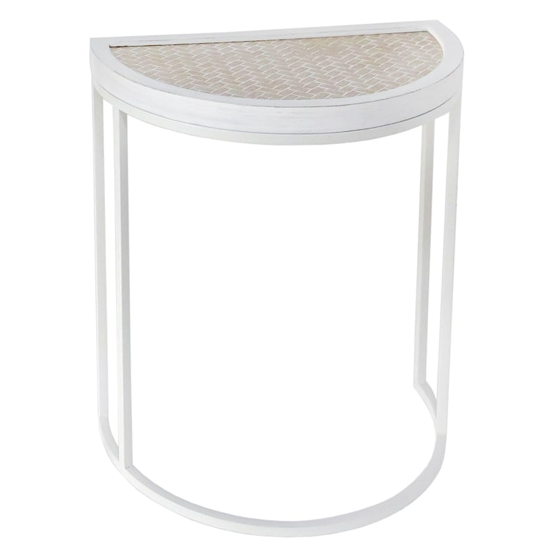 Half Round Wood Top Plant Stand With White Metal Base, Small