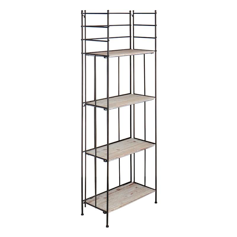 63in. Metal Baker Rack With Folding Wood Top Shelves