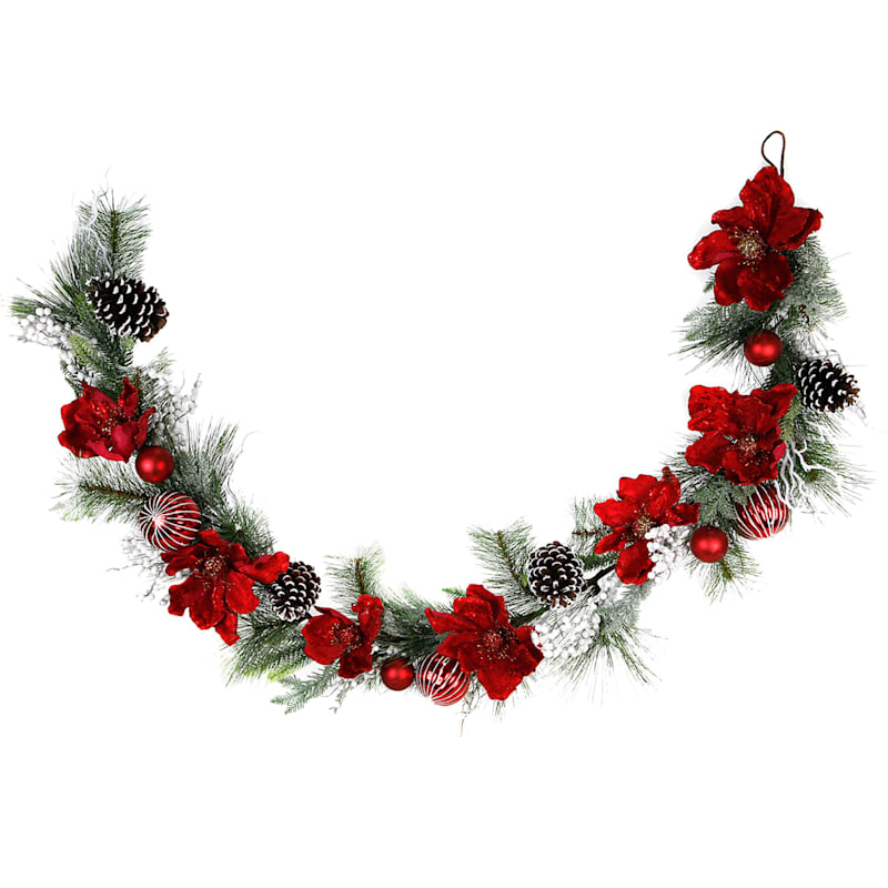 Pine Garland with Red Magnolias, White Berries & Flocked Pinecones, 6'