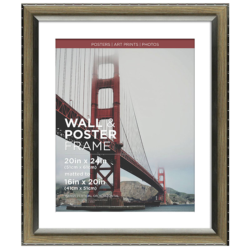 20X24 Matted To 16X20 Greywash/Silver Poster Frame