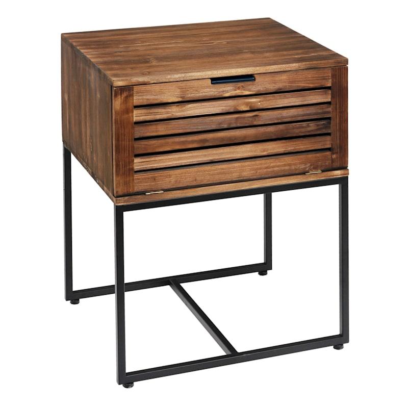 1 Door Wood Top Side Table With Metal Base